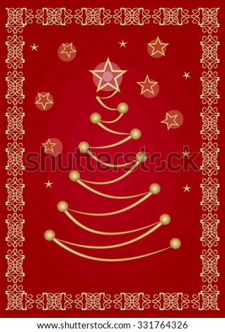 Elegant christmas flyer or corporate greeting card template with stylized golden tree drawing and vintage golden filigree border. Festive dark red background with christmas stars.  - stock vector