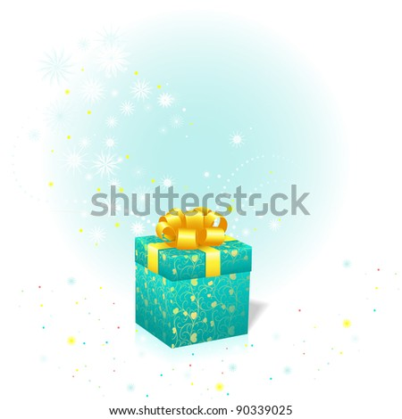 Elegant Christmas gift box bow and snowflakes
