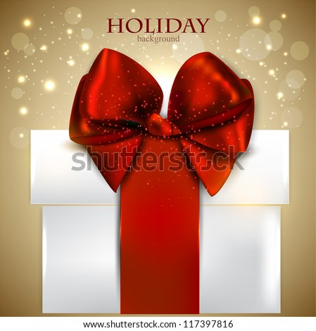 Elegant Christmas gift with red bow and space for text. Vector background - stock vector