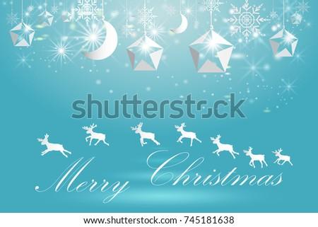 Elegant Christmas Poster Template Snowflakes Deer Stock Vector