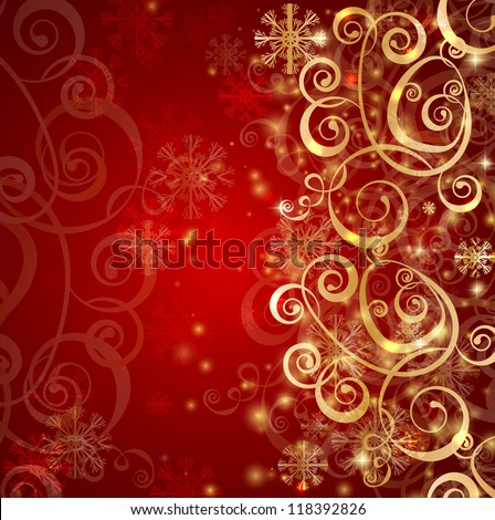 Elegant christmas red background with gold snowflakes and lights - stock vector
