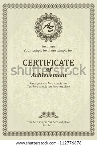 Elegant Classic Certificate of achievement. Vintage frames and border. Easy to use. - stock vector
