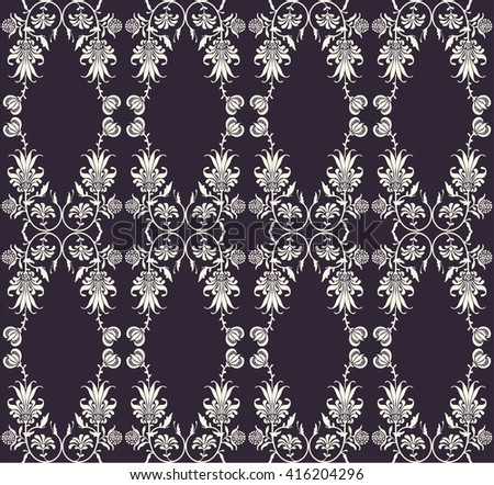 elegant, classic floral pattern on a dark background white flowers