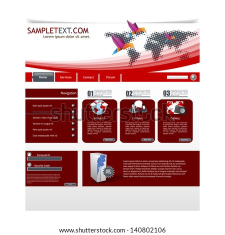 Elegant Clean Website template, Minimalistic colors style  - stock vector