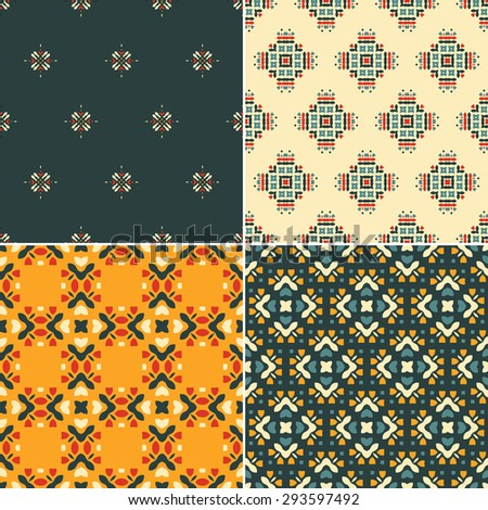 Elegant collection of four geometric seamless patterns. Ornamental background for cards, invitations, web pages. Retro texture or digital paper. Abstract modern tile.