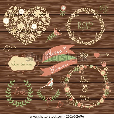 Elegant collection of graphic elements. Ideal for wedding invitations and cards. - stock vector