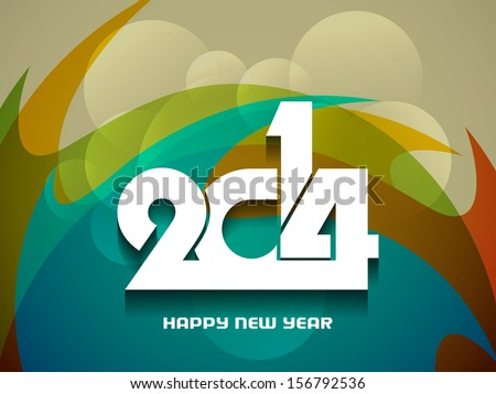 elegant colorful background design for happy new year 2014. vector illustration - stock vector