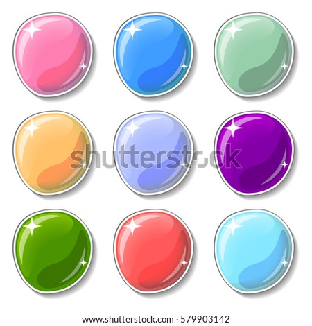 Elegant colorful buttons with glass surface effect. Blank vector buttons set for web design or game graphic. Bright marbles on white background. Empty bubbles for text or word. Board pins isolated