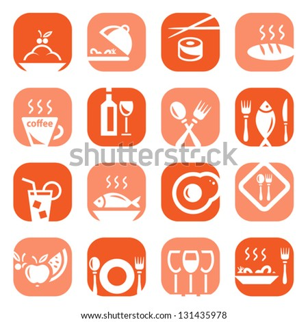 Elegant Colorful Restaurant Icons Set Created For Mobile, Web And Applications.