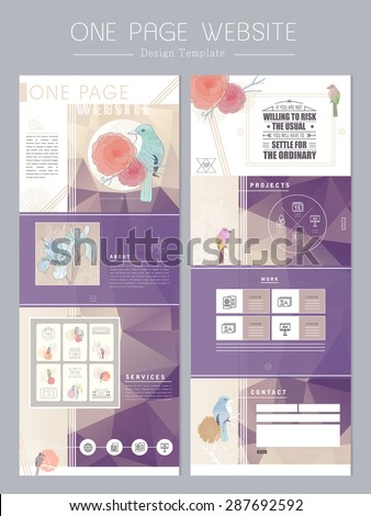 elegant concept one page website design template with floral and birds - stock vector