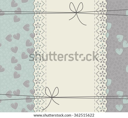 Elegant cover with lace frame, elegant hearts and bows. Stylish frame can be used for wedding invitation. Valentine's greeting card, baby shower card and more designs. - stock vector