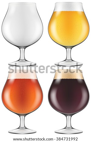 Elegant craft beer glass in four versions for lager, amber ale and stout with an empty one also included. Photo-realistic vector illustration. - stock vector