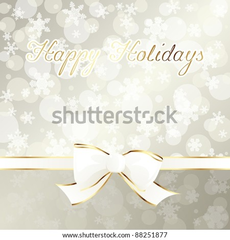 Elegant cream-colored holiday banner with white ribbon (eps10);  jpg version also available - stock vector