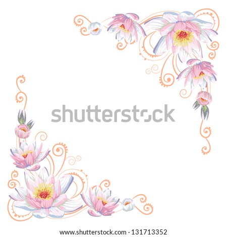 Elegant curves flower corners isolated - stock vector