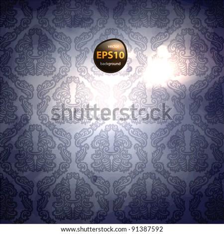 elegant damask background - stock vector