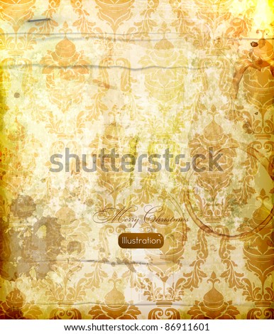 elegant damask background with classical wallpaper pattern, slightly grungy texture and light effects - stock vector