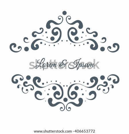 Elegant decorative ornate vintage border frame. Template for invitation card or announcement. Element for design. Vector illustration isolated on white background.