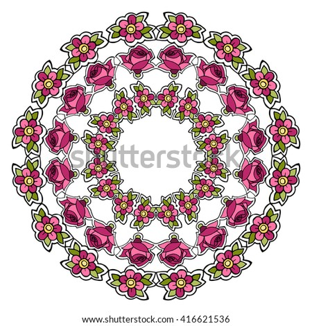 Elegant decorative round flower ornament of hand-drawn roses on a white background. Beautiful round frame, romantic floral pattern. Gentle vivid colors - pink, yellow, green. Vector in a doodle style. - stock vector