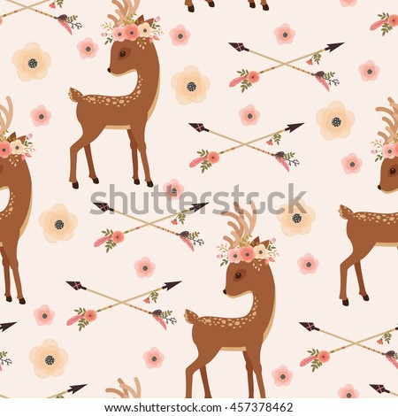 Elegant deer with floral wreath on a head and crossed arrows. Vector seamless pattern. Ethnic or Native American themed wallpaper