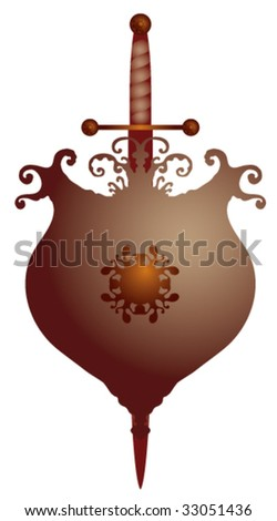 elegant defense symbol with shield and sword gold and red