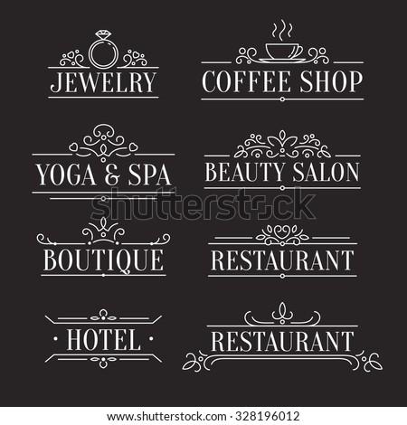 elegant design outline logo template ornamental stock vector