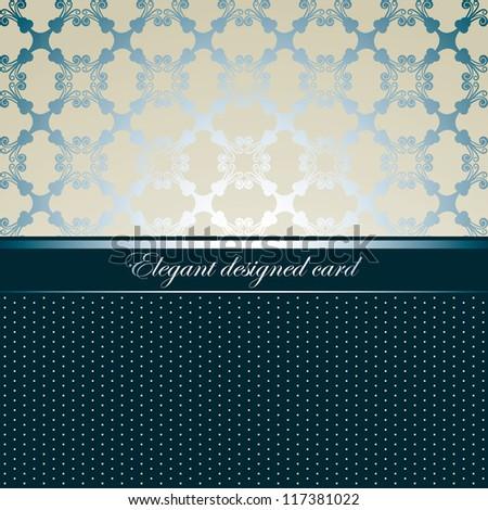 Elegant designed card, seamless background, light style - stock vector