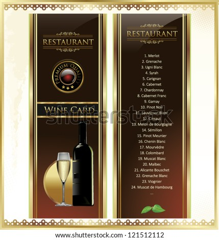Elegant Drink menu card with wine glass and bottle - stock vector