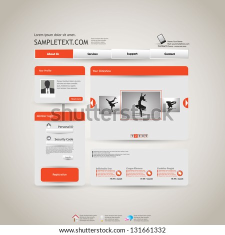 Elegant Editable Website Template, grey and orange - stock vector