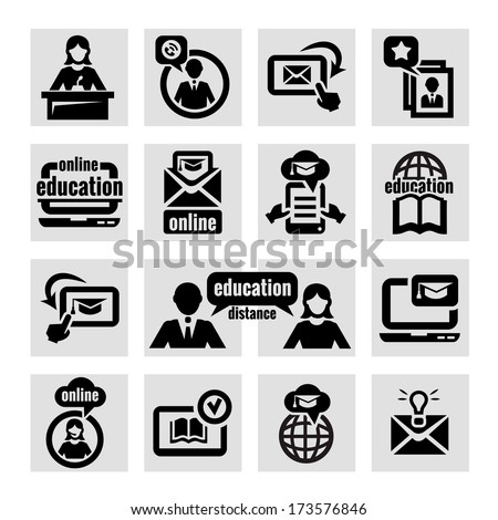 Elegant Education Concept Icons Set. - stock vector
