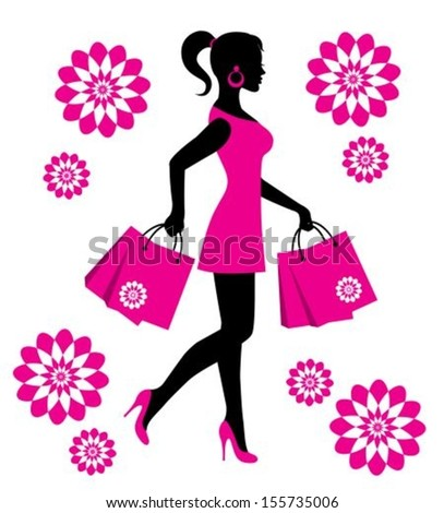 elegant female silhouette in a pink dress with flowers and packages - stock vector