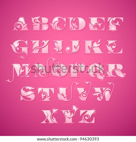 Elegant Floral Alphabet - stock vector