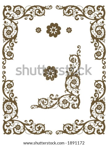 Elegant floral corners. Rustic or solid styles - stock vector
