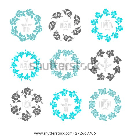 Elegant floral frames with hibiscus flowers, design elements. Can be used for wedding, baby shower, mothers day, valentines day, birthday cards, invitations. Vintage decorative flowers. - stock vector
