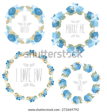 Elegant floral frames with hydrangea flowers, design elements. Can be used for wedding, baby shower, mothers day, valentines day, birthday cards, invitations. Vintage decorative flowers. - stock vector