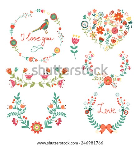Elegant  floral graphic elements. Ideal for invitations, cards, postcards and other - stock vector
