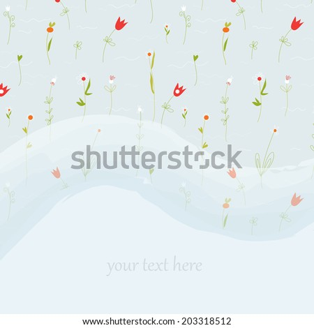 Elegant floral greeting card for wedding or birthday with copy space element - stock vector