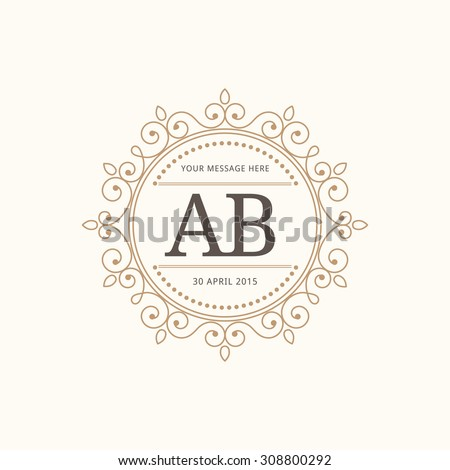 Elegant Floral Monogram Design Template One Stock Photo Photo