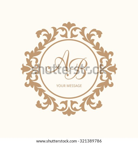 Elegant floral monogram design template for one or two letters . Wedding monogram. Calligraphic elegant ornament. Vector illustration. Business sign, monogram identity for restaurant, boutique, cafe - stock vector