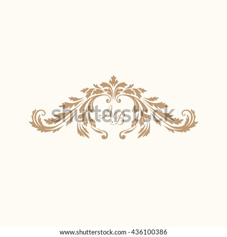 Elegant floral monogram design template with decorative elements. Wedding monogram. Calligraphic elegant ornament. Business sign, monogram identity for restaurant, boutique, hotel, heraldic, jewelry. - stock vector