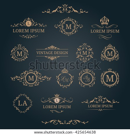 Elegant Floral Monograms Borders Design Templates Stock Vector 2018
