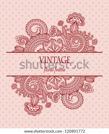 Elegant floral pattern in red on a seamless background with hearts - stock vector
