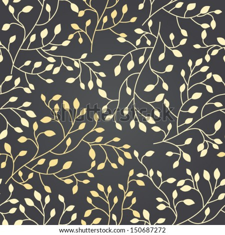 Elegant floral seamless pattern with golden foliage, beautiful floral background - stock vector