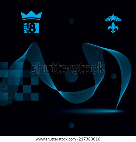 Elegant flowing lines vector background, royal design, eps8. Dark refined abstract textile backdrop. - stock vector
