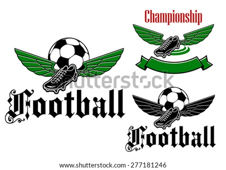 Elegant football or soccer ball and boot  with wings and with text for sports club design - stock vector