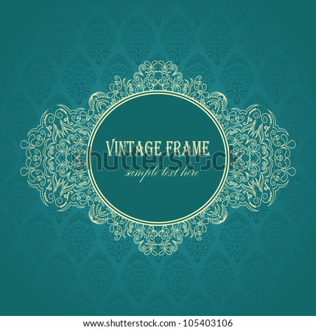 Elegant frame on a blue background with seamless damask wallpaper - stock vector