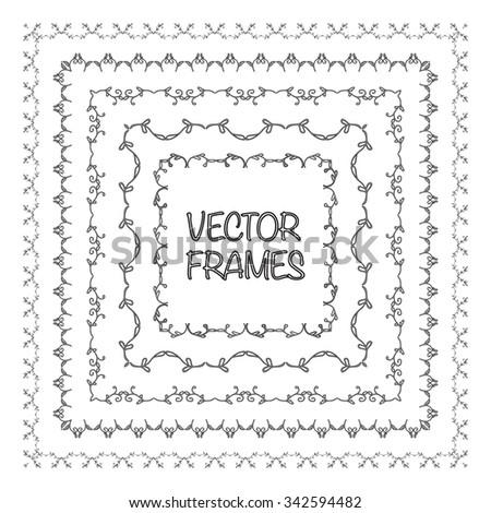 Elegant frame templates. Borders design. Square frames set. Vintage decorative elements. Vector illustration. Page decoration. - stock vector