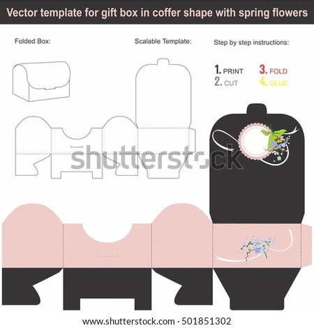 Elegant Gift Box in coffer shape with hand drawn spring flowers | Scalable template | Die-stamping