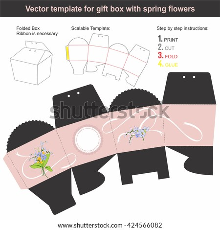 Elegant Gift Box in conical shape with hand drawn spring flowers | Scalable template | Die-stamping - stock vector