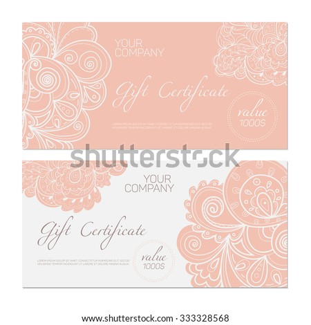 Elegant gift certificate template abstract ornamental stock vector elegant gift certificate template abstract ornamental background yelopaper Choice Image
