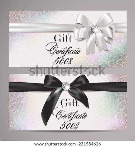 Elegant gift certificates with silk ribbons - stock vector